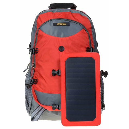 SP507BL 6.5 W Solar Backpack in grey red - Sports backpack with removable solar charger