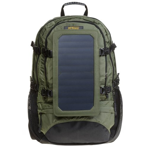SP607GR 6.5 W Solar Backpack in green - Hiking backpack with removable solar charger