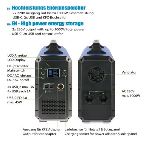 Jauch JES1500WHA Powerstation with 1500Wh - mobile high performance battery 230V AC, USB-C PD 45W, 4x USB-A and 12V